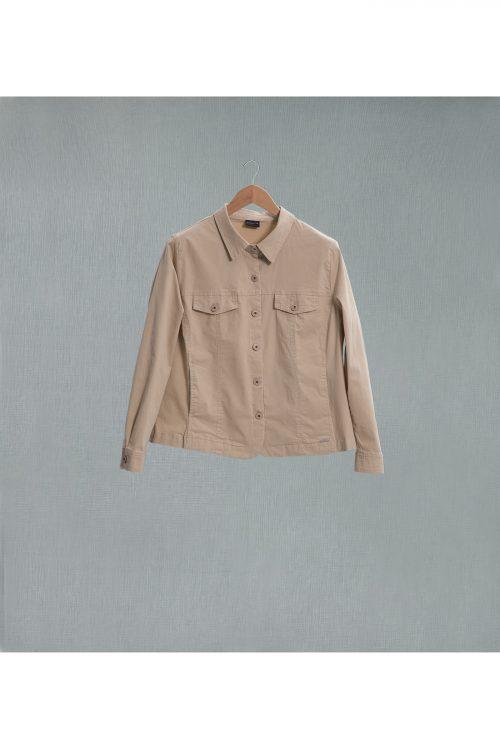 curveaporter chaqueta algodón beige tallas grandes
